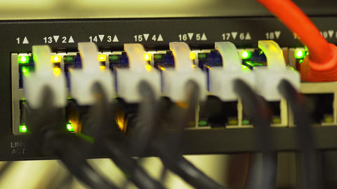 corporate network ethernet switch blinking 4k Footage