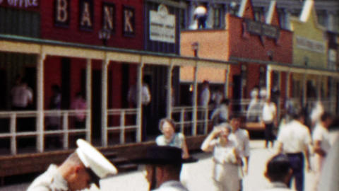 1959: Old west recreation town replica bank mainstreet crowds gather Footage
