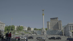 The Symbol Of Ukraine. The Central square of Kiev (Kyiv) . The Independence Squa Footage