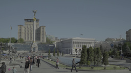 People in the center of Kiev. The Independence Square. Timelapse Footage