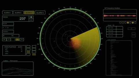 Science fiction hi-tech radar design element HUD for searching and detection After Effects Template