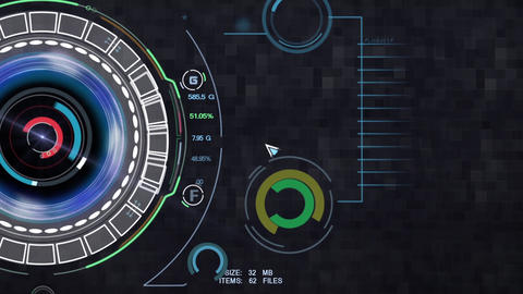 Sci fi design element with rotating circles power panel and cursor activity After Effects Template