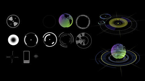 Different collection of Science fiction design element rotating earth HUD After Effects Template