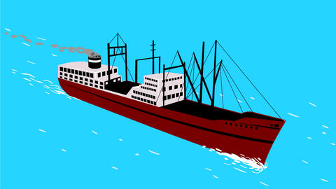 Vintage Cargo Ship Sailing on High Sea 2D Animation Animation