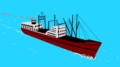 Vintage Cargo Ship Sailing on High Sea 2D Animation Stock Video Footage