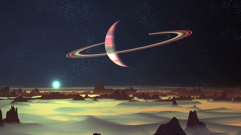 Blue Sun Rise and Planet Surrounded by Rings GIF