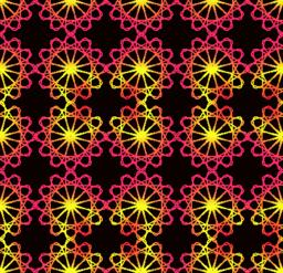 Fine red and yellow patterns on dark red background. Filigree symmetric shapes Vector