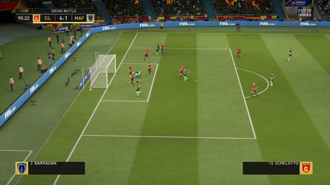 team makes successful passes and kicks at gate in video game Footage