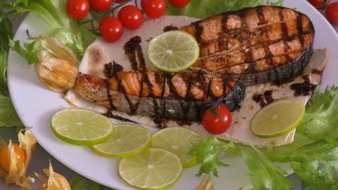Grilled trout with fresh Greens Footage