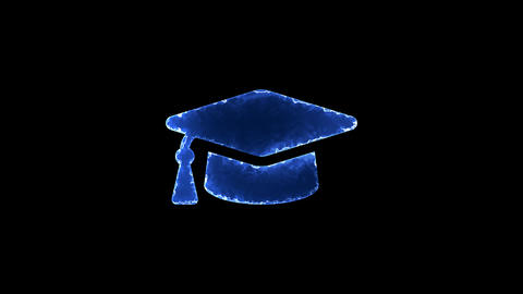 Symbol graduation cap. Blue Electric Glow Storm. looped video. Alpha channel Animation