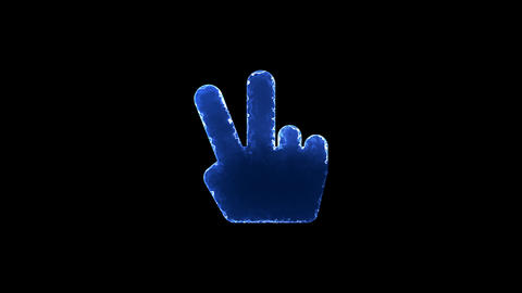 Symbol hand peace. Blue Electric Glow Storm. looped video. Alpha channel black Animation