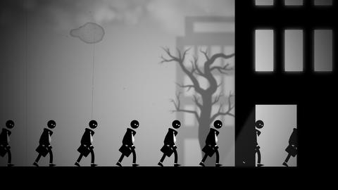 Animation of depressed white-collar workers marching to their daily office jobs Animation