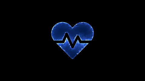 Symbol heartbeat. Blue Electric Glow Storm. looped video. Alpha channel black Animation