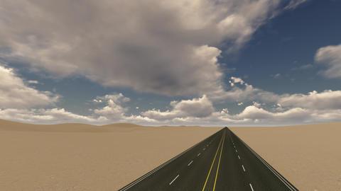 Straight asphalt road in the desert Live Action