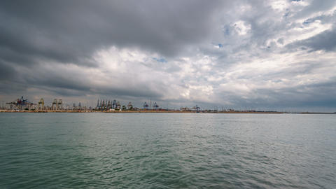 Cranes and port with water timelapse Footage