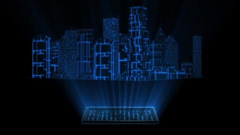 3D Blue Tron Hologram City With Screen Loopable Element Animation