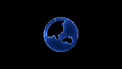Symbol globe asia. Blue Electric Glow Storm. looped video. Alpha channel black Animation