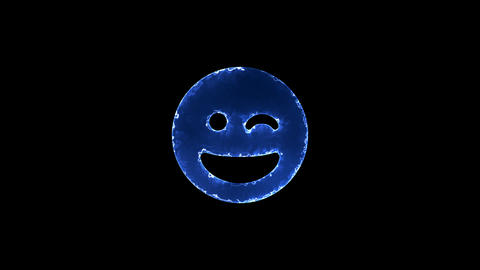 Symbol grin wink. Blue Electric Glow Storm. looped video. Alpha channel black Animation