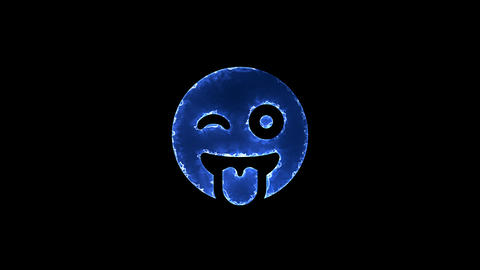Symbol grin tongue wink. Blue Electric Glow Storm. looped video. Alpha channel Animation