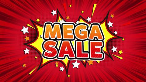 Mega Sale Word Retro Cartoon Comic Bubbles Seamless loop Footage