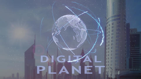 Digital planet text with 3d hologram of the planet Earth against the backdrop of Live Action