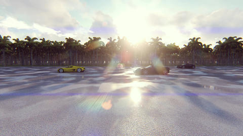 Race sports cars on a Sunny day in the tropics. Realistic... Stock Video Footage