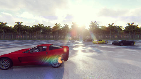 Race sports cars on a Sunny day in the tropics. Realistic 4k animation Animation