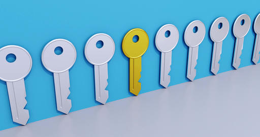 Search and find key animation. Symbol for choosing the right solution of a Animation
