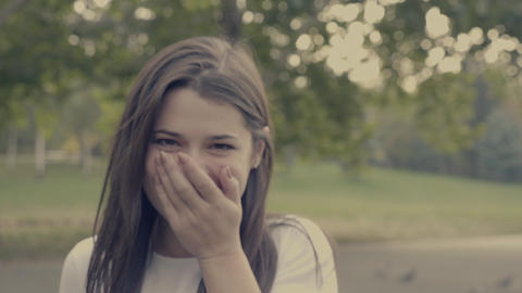Portrait of laughing young woman Footage