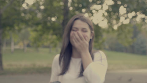 Portrait of laughing young woman Stock Video Footage