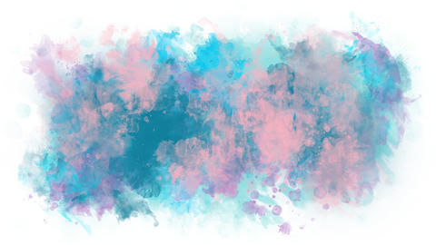 Gentle pink blue watercolor stain Animation