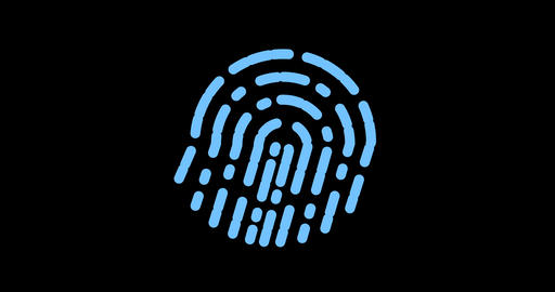 Fingerprint biometrics. Futuristic digital processing of biometric fingerprint Footage