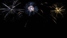 Brightly colorful fireworks for events on dark background Animación
