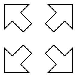 Four arrows pointing to different directions from the center icon black color ベクター