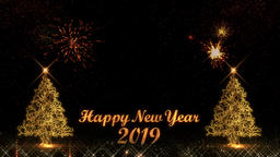 Happy New Year 2019 golden light shine particles bokeh fireworks loop Animation