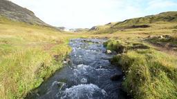 Hveragerdi Hot Springs river creek in Reykjadalur, Iceland, steam Footage