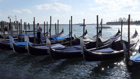 6 Gondolas On Water In Venice Italy Venezia Italia Footage