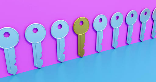 Golden key symbolizing a solution. Concept for searching and finding an idea. 3d Animation