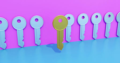 Golden key symbolizing a solution. Concept for searching... Stock Video Footage