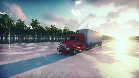 Shot of a Truck with Cargo Trailer Moving on a Wet Highway Animation