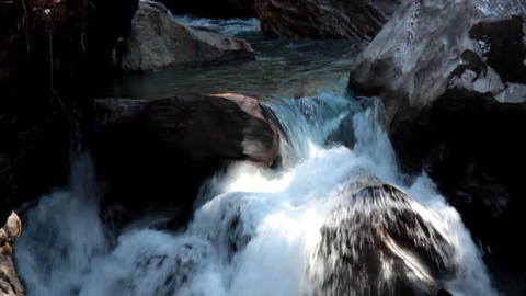 Winter, streams of pure melt water in Parvati river valley, Sivalik Footage