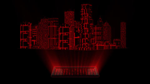 3D Red Tron Hologram City With Screen Loopable Element Animation