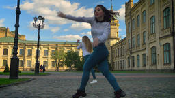 Hip-hop Movements Of Caucasian Beautiful Females Are Dancing Together, Looking Footage