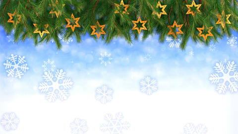 Christmas background - Twigs and stars with falling snowflakes - 3D render ビデオ