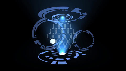 Science fiction hexagonal design element rotating circles HUD After Effects Template