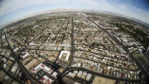 fisheye aerial view of las vegas 4k Footage