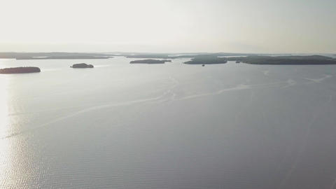 Lake Paijanne open water and islands, aerial shot Footage