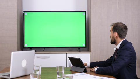 Businessman in conference video call Footage