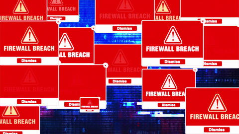 Firewall Breach Alert Warning Error Pop-up Notification Box On Screen Live Action