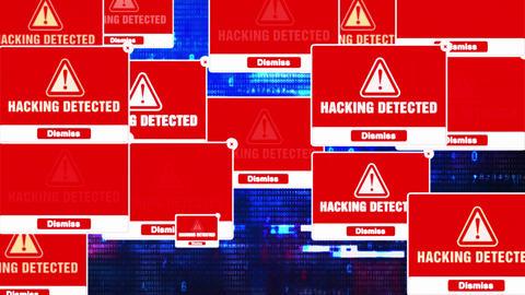 Hacking Detected Alert Warning Error Pop-up Notification Box On Screen Footage